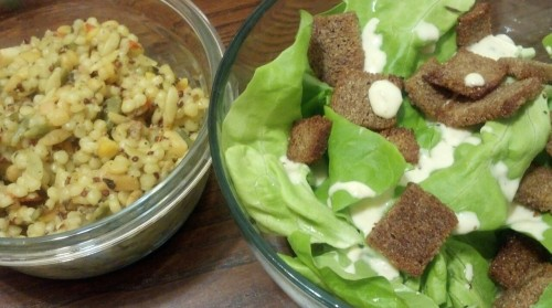 Carrot, couscous, orzo, chickpea, quinoa & Caesar salad (butter lettuce, garlic pumpernickel croutons)