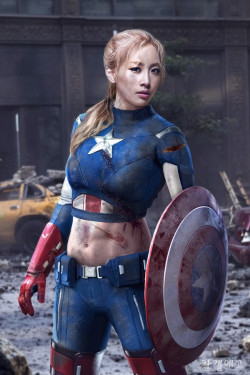 karatastic:  Nicole as Captain America | Credits to uploader; not mine  Whoa….