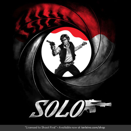 "I'm excited to announce my first NEW design in my NEW shop - my Han Solo / James Bond ""Licensed to Shoot First""!  Help spread the word by reblogging this post, or tweet, like, pin or comment directly on the product page. PLUS, now through Sunday, if you create a new account, you'll automatically get $5 off your first order!"