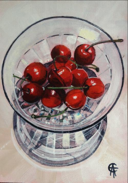 "Cherries in cut glass  (6""x4"" Acrylic Cat Salter Art"