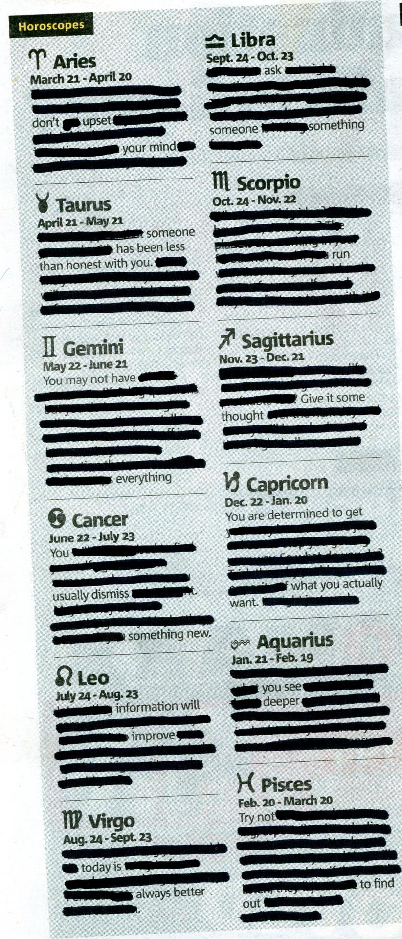 HOROSCOPE - MAY 11, 2013