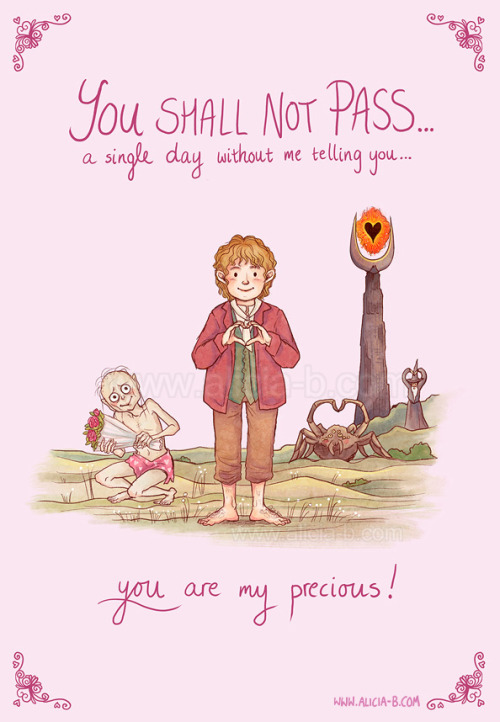 You are my preciouses! Card available on Redbubble here! I want there to be a universe where Aragog sends Shelob a valentines card every year.