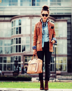 lookbookdotnu:  Leather, Plaid and Denim (by Hallie S.)