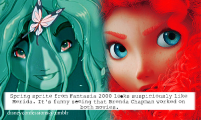 "waltdisneyconfessions:  ""Spring sprite from Fantasia 2000 looks suspiciously like Merida. It's funny seeing that Brenda Chapman worked on both movies."""