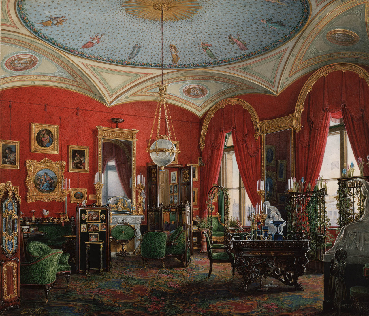 Edward Petrovich Hau, The Cabinet (Interiors of the Winter Palace, 1850 watercolor Download Image Visit Source @ forpilar.blogspot.ca