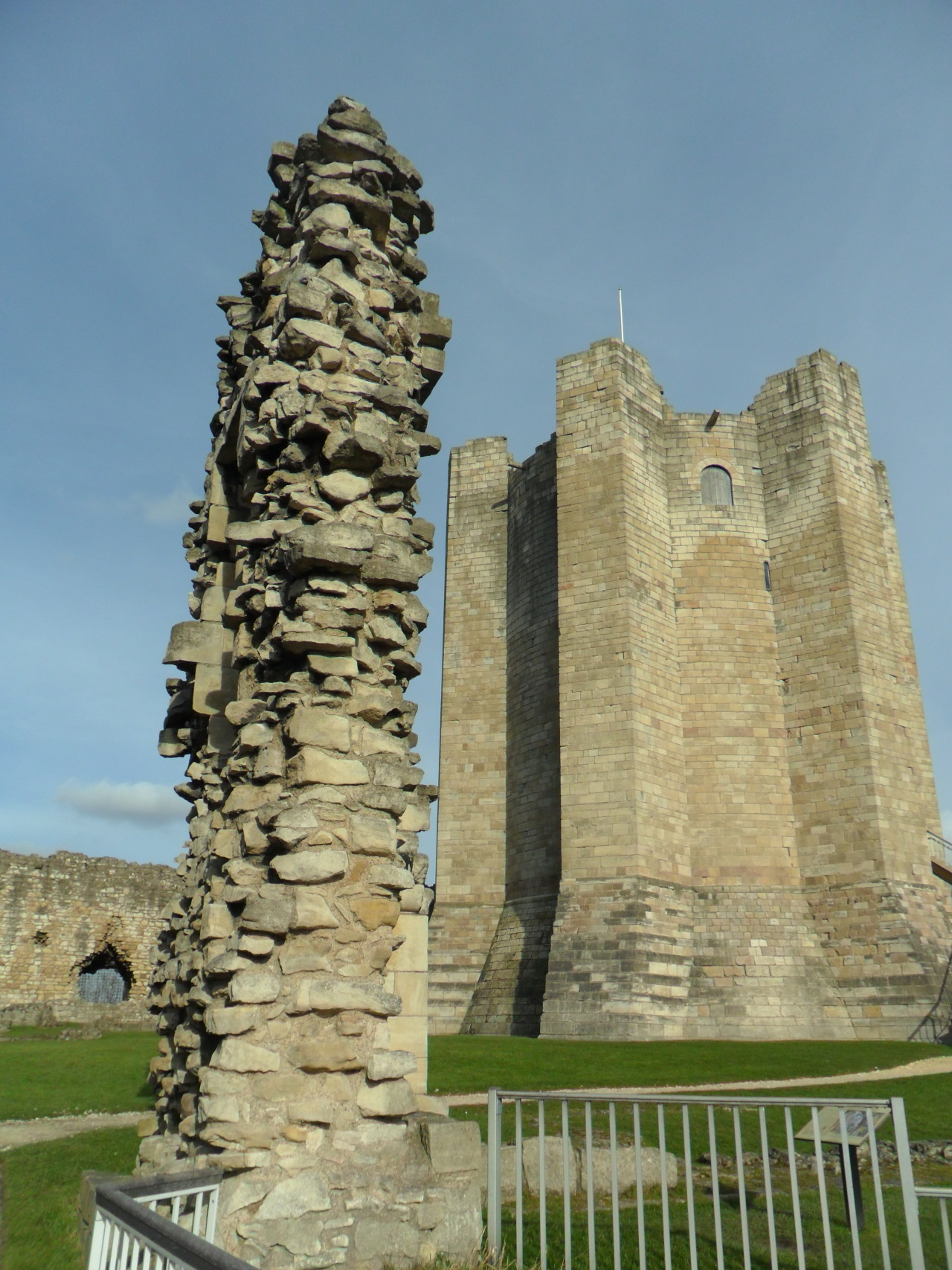 12th Century Keep and ruined walls of Conisbrough Castle, Doncaster, Yorkshire, England