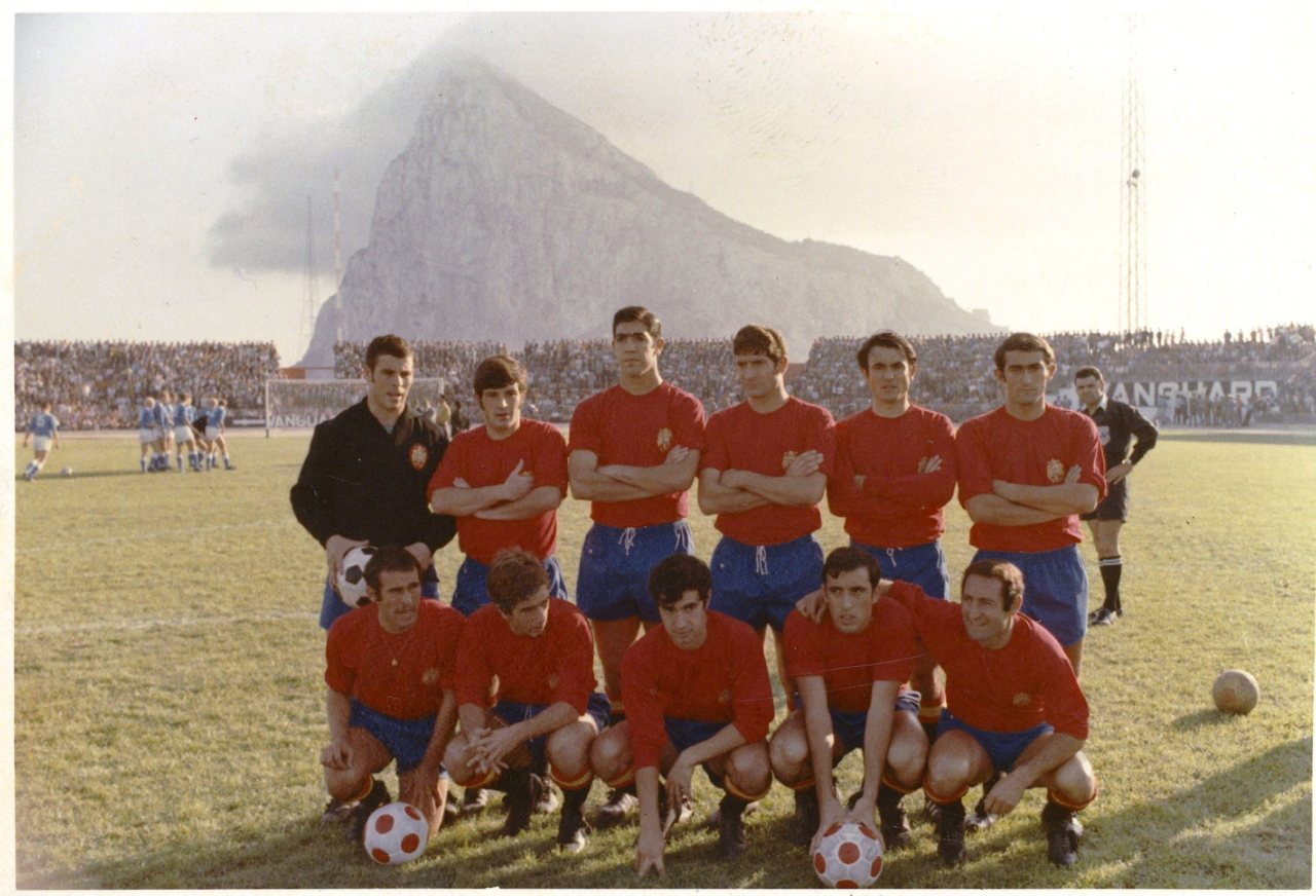 Spain line-up for the 1970 WC Qualifier Group 6 match v Finland (6-0), October 15, 1969. This was the inuagural match at the Estadio Municipal de La Linea de la Concepcion in Cadiz as well as Ladislao Kubala's first match as manager of Spain. Source: ABC