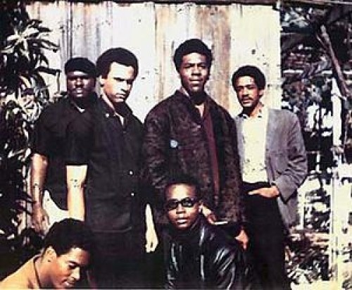 "soulbrotherv2:  Original six members of the Black Panther Party for self defense in Oakland, CA 1966. Top left to right: Elbert ""Big Man"" Howard, Huey P. Newton (Defense Minister) Sherwin Forte, Bobby Seale (Chairman); Bottom: Reggie Forte, and Little Bobby Hutton (Treasurer)."