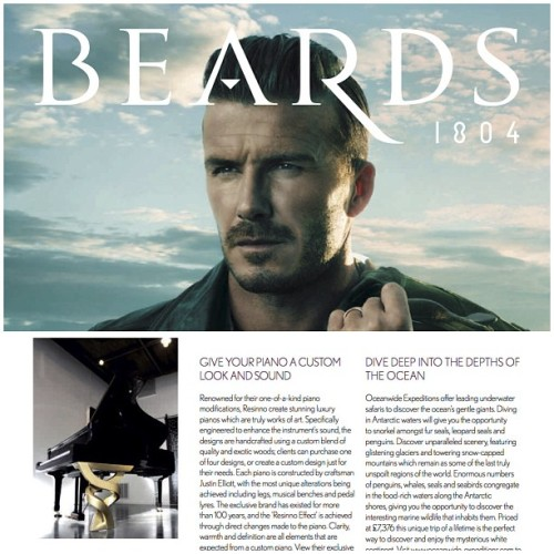 "Thank you to Beards Magazine for Featuring ResInno's Helio piano design ""Give your piano a custom look and sound"""