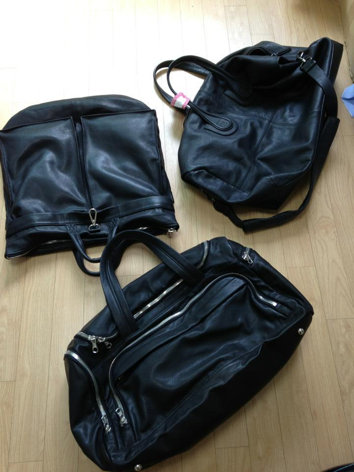 black leather luggage