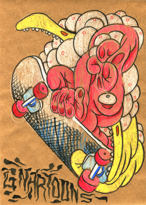 gnartoons:  I've been playing around with some colored pencils lately, getting some ideas together for an upcoming INTRUDER COMICS show at Cairo Records, in Seattle.