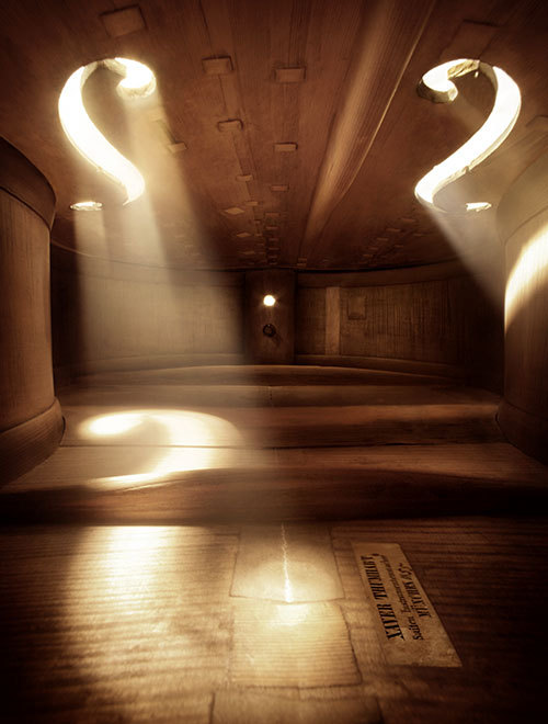 jakiiiro:  Photographs taken inside musical instruments making them look like large and spacious rooms. mierswa kluska.