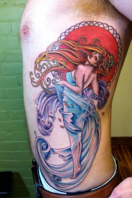 Alfons Mucha Inspired Rib Tattoo Mucha inspired rib piece, by Johnny Smith at Off the Map Tattoo, Easthampton, Massachusetts. This vibrant tattoo took seven hours to complete. Here is the original piece done by Alfons Mucha: