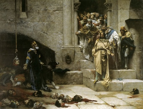 Jose Casado del Alisal - La Campana de Huesca; 1880 Legend tells of the monk-king Ramiro II, who succeeded the throne of Aragon after the death of his brother Alfonso I. At that time, Ramiro was Bishop of  Roda de Isabena, and had no idea how to deal with the significant domestic and foreign problems of the state. In desperation he sends a herald to the abbot of his former monastery to seek his advice regarding the state's troublesome nobles. The herald is shown to the garden, where he witnesses the abbot removing the heads of roses that stuck out from the rest; and the herald is bidden to tell the king what he has seen. And so Ramiro summoned his nobles to the palace, informing them of his plan to build a bell whom everyone could hear; whereupon he cut off their heads, and built a circle with it, the chief noble's head suspended from the clapper itself.