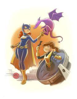 Switching things up a little, here's a commission for a Batgirl and Kitty Pryde (plus Lockheed) team-up. Doesn't seem like Kitty is any better than Supergirl at messing around with poor Batgirl's world.