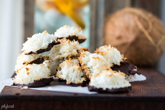 Chocolate Dipped Coconut Macaroons  http://www.jellytoastblog.com/2013/05/chocolate-dipped-coconut-macaroons.html#more
