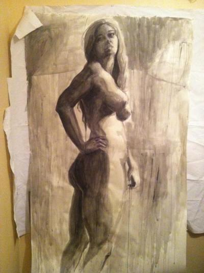 Figure Drawing Final? -Defeated.Thank you Simona!  6.5 feet by 4 feet.