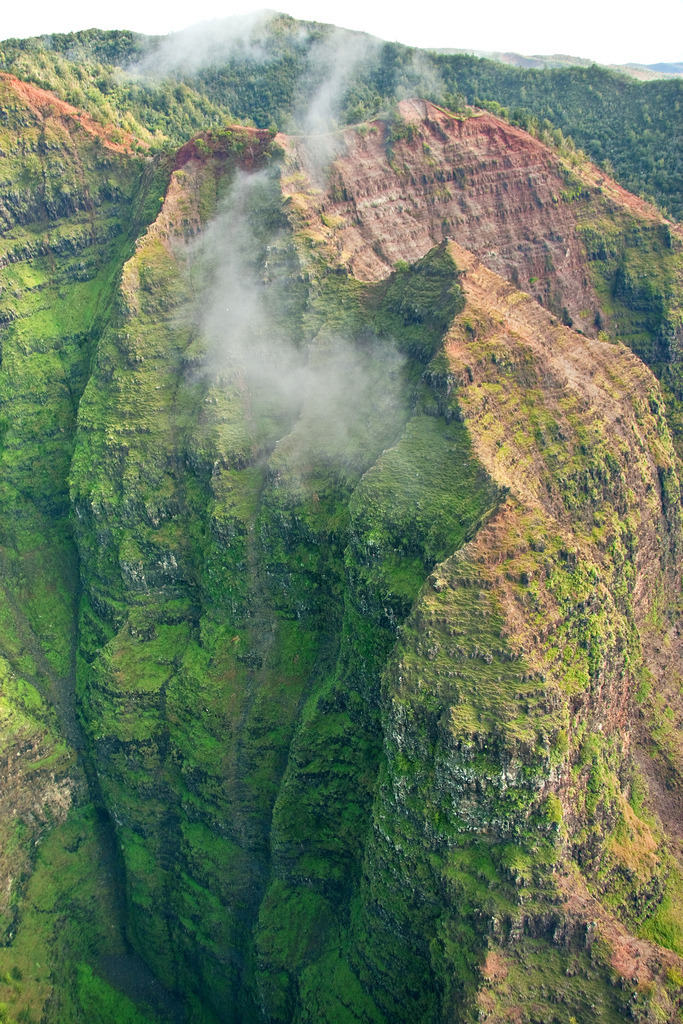 "elliptical:  Mist hangs over Waimea Canyon, Kauai - Aerial View (by IronRodArt - Royce Bair (""Star Shooter""))"