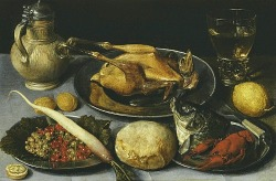 stilllifequickheart:  Georg Flegel Lenten Supper of Carp´s Head, Guinea Fowl and Redcurrants  1610-20
