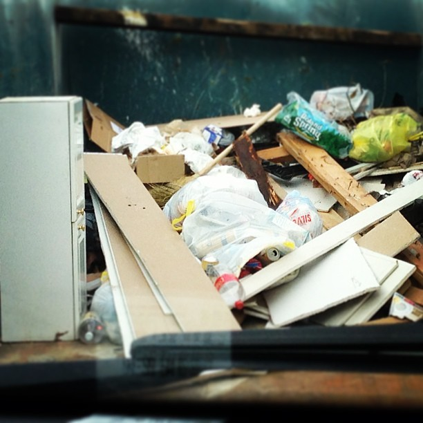 Remnants of #Sandy. The contents of a dumpster in Canarsie this weekend.