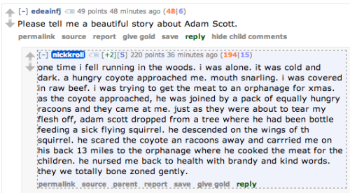 Nick Kroll is telling beautiful stories on Reddit right now.