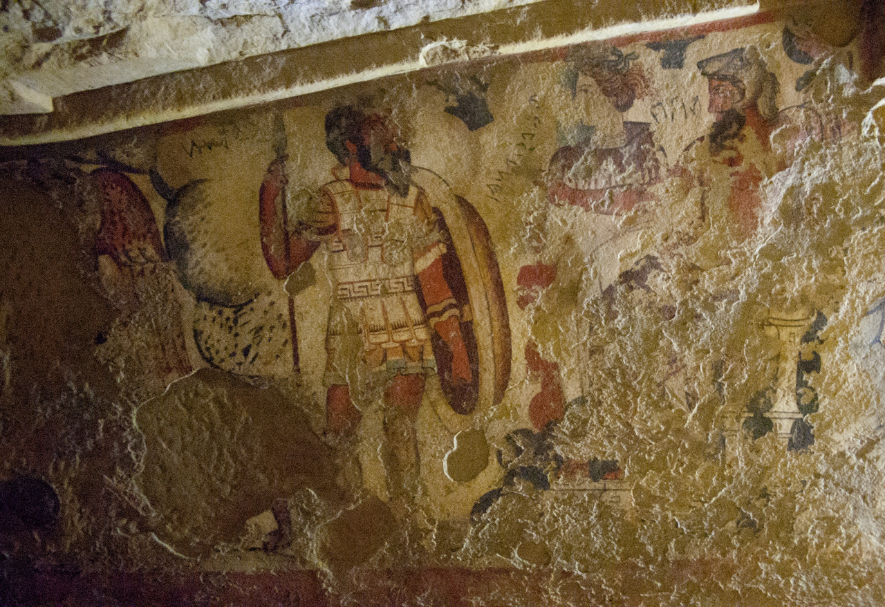 Ancient Etruscan fresco of Hades and Persephone leading a procession. Tomb of Orcus II, Tarquinia, Italy. Photo courtesy & taken by Robin Iversen Rönnlund