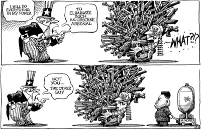 KAL's cartoon: this week, arms.