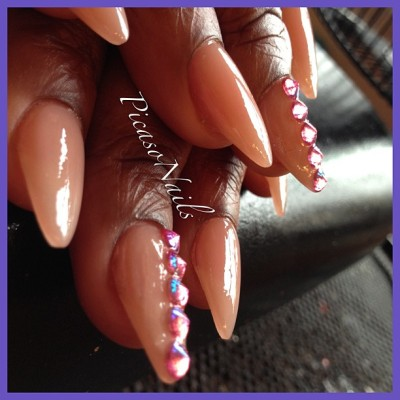 Side view #pink aero decent #spikes #nails #nailart #essie #potd #fun #spring #girls #prom #brooklyn #nyc