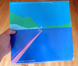 "publiccollectors:  Sounds of Nowhere, a record that came ""Compliments of Halcyon Days Hotel on St. Lucia, W.I. - It's in the middle of nowhere."" To my great disappointment, after picking this record up at a thrift store, I discovered that it has the wrong album tucked inside - one of those damn Environments records of ocean sounds. I can find no information about this Sounds of Nowhere record online and now I fear that I'll just never get to hear what nowhere sounds like. Fuck! The album cover design is exactly the same on both sides and the blank spine contains no other information. A vinyl mystery."