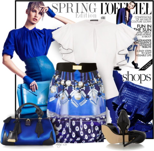 Blue in the Face by sheryl-lee featuring topshop ❤ liked on PolyvoreAlexander McQueen ruffle shirt / Mary Katrantzou pleated mini skirt, $540 / Fendi peep toe shoes, $560 / Burberry leather tote / Topshop