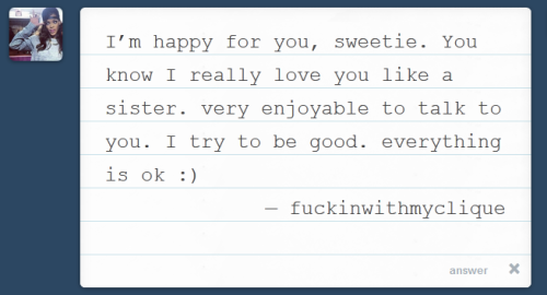 Sweet and simple message like this makes my heart flutter :') Thank you so much! Hope everything is well :) *virtual hug*