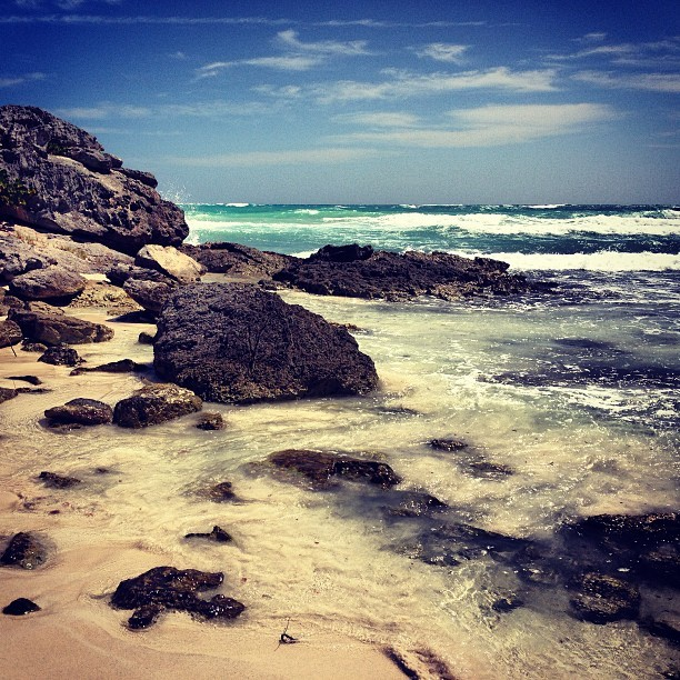 sometimes there are rocks #tulum #mexico #caribbean #beachlife #everystring #rivieramaya