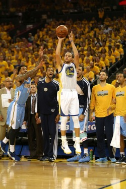 "nbaoffseason:  sportscentr:  Three players doing what they do best: Steph Curry is drilling an outside shot; Anthony Randolph and JaVale McGee are yelling ineffectually. Even though they were on the bench, I'm still surprised those two Nuggets resisted the urge to jump way out of position trying to block the shot and then fall down.  And Wilson Chandler's all like ""STOP THIS MAN BEFORE HE TRAVELS BACK IN TIME AND CHANGES THE FUTURE!""   Even time won't stop that sweet, sweet shot."