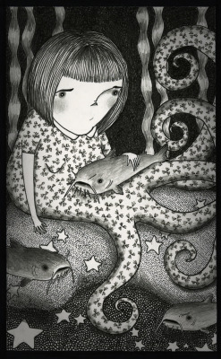 Octogirl and her Catfish 2012, ink and graphite © Mai Ly Degnan