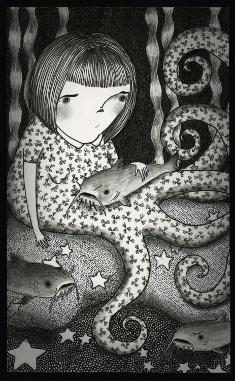 mailyillustration:  Octogirl and her Catfish 2012, ink and graphite © Mai Ly Degnan