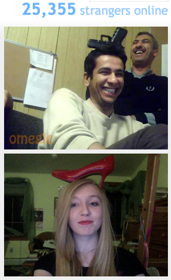"staticpoison:  thanl:  off-the-wall-geek:  So I went on Omegle today out of boredom and I meet up with three police officers from Iraq. We all became best friends and had a competition of ""who can balance an object on their head the longest."" I chose a shoe and they chose a gun. I ended up winning with the shoe. I think this screenshot really captures the spirit.   that's legitimately one of the cutest things i've ever seen happen on the internet  sometimes i really like humans"