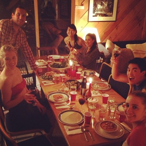 Family dinner at the cabin!