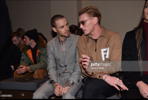 Liam Payne, Jamie Campbell Bower and Damiano David attend the Fendi show at Milan Men's Fashion Week Fall-Winter 2018/19 on January 15, 2018 in Milan, Italy. (Photo by Jacopo Raule/Getty Images)