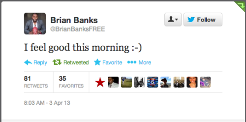Brian Banks, a linebacker who served six years in prison after being falsely accused of rape, was signed by the Falcons today. Awesome.