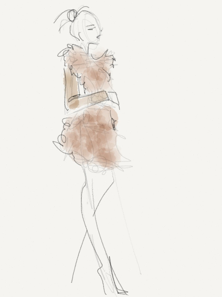 wwdonpaper:  Sheepskin coat on audience member at Oscar de la Renta Sketch by Danielle Meder