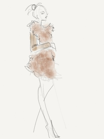 Sheepskin coat on audience member at Oscar de la Renta Sketch by Danielle Meder