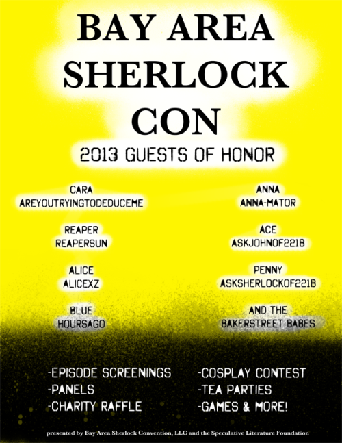 hoursago:  bayareasherlockcon:  Here's the official guest list for this year! I hope you're just as excited as we are. Don't forget to follow us on Twitter and like us on Facebook!  HEYYY…  DOUBLE HEY…