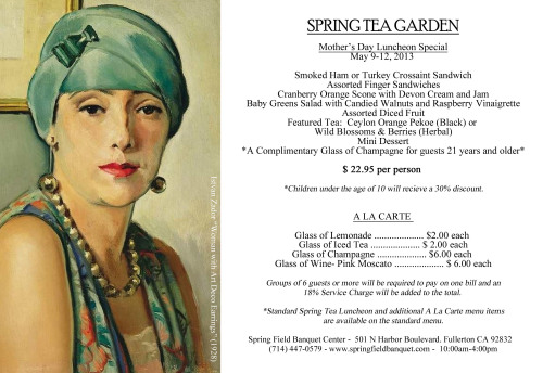 Our featured menu for Mother's Day Weekend includes a complimentary glass of Champagne for our adult guests! For reservations, please call 714-447-0579.  The Spring Tea Garden at Spring Field Banquet Center