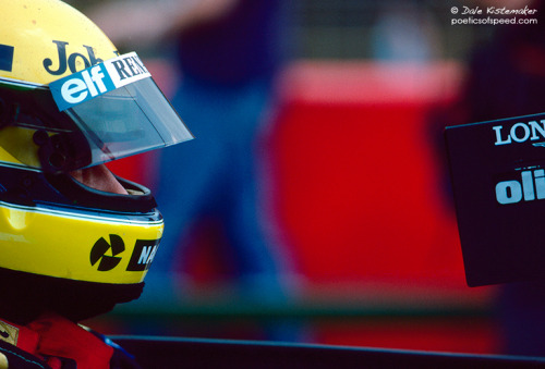 Who knew? Honestly, who really knew that Ayrton Senna would mean so much to so many people? Who honestly knew, back when this photo was taken in 1985, that this young man would go down as arguably the greatest racing driver of all time? I have read contemporary reports, articles and interviews, and they all seem to indicate that anyone who was in contact with the Brazilian knew he was special. The raw talent and high levels of commitment were visible to all, but to become more revered than Fangio or Clark, who honestly knew?