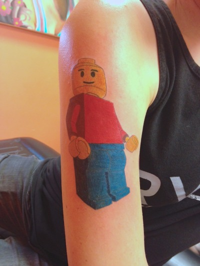My latest tattoo of a Lego guy. Done by Josh at Dead Rockstar in Fargo, ND.