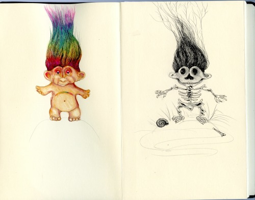 sketches for troll articulated skeleton, gouache, pencil, 2013 bone a day inkhead