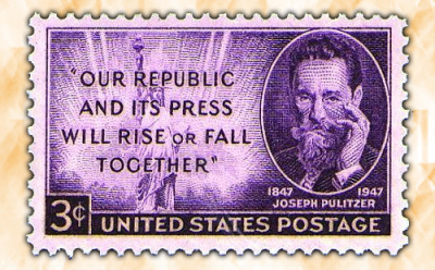 "Happy Birthday, Joseph Pulitzer! Today in 1847, the legendary Joseph P. was born. He's also the namesake of Columbia J-school and we're getting cupcakes on his behalf today, so here's a nod, a smile, and a question in his direction.—Jihii Q: How does the half-Jewish, half-Roman Catholic man from Hungary behind yellow journalism get to be remembered as the father of great American journalism and a great American journalism school? A: His contributions outweigh his slip-ups, he was incredibly enterprising, and he got a lot of things done.  For starters, he wanted to be in army but was rejected on account of his sickliness till he met a bounty recruiter for the US Union Army, enlisted in the Lincoln Cavalry for a year, then worked his way to St. Louis as a muleteer, baggage handler, and waiter. His journalism career began with a job at a German language daily, and some significant hops, skips and jumps later (including ownership of the St. Louis Post-Dispatch), he bought the The New York World, which was in dire financial states. The yellow journalism period came into full play during a four month long circulation battle with William Randolph Hearst's Journal.  Pulitzer.org:  In the view of historians, Pulitzer's lapse into ""yellow journalism"" was outweighed by his public service achievements. He waged courageous and often successful crusades against corrupt practices in government and business. He was responsible to a large extent for passage of antitrust legislation and regulation of the insurance industry.  Notable accomplishments include tremendous improvements in circulation of both the St. Louis Post-Dispatch and The New York World, innovations such as the first extensive use of illustrations in the paper, exposing tremendous corruption, crazy news stunts (such as the time he raised public subscriptions for the building of a pedestal at the entrance to the New York Harbor for the Statue of Liberty to be emplaced), and of course, Columbia J-school and the Pulitzer Prizes. Read his full bio here. Image: via Kenmore Stamp Company."
