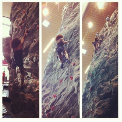 Started from the bottom, now I'm here! #rockclimbing #csun #northridge #src #rockwall #imadeittothetop #thengotstuckatthetop #igotdownthough #imabeast