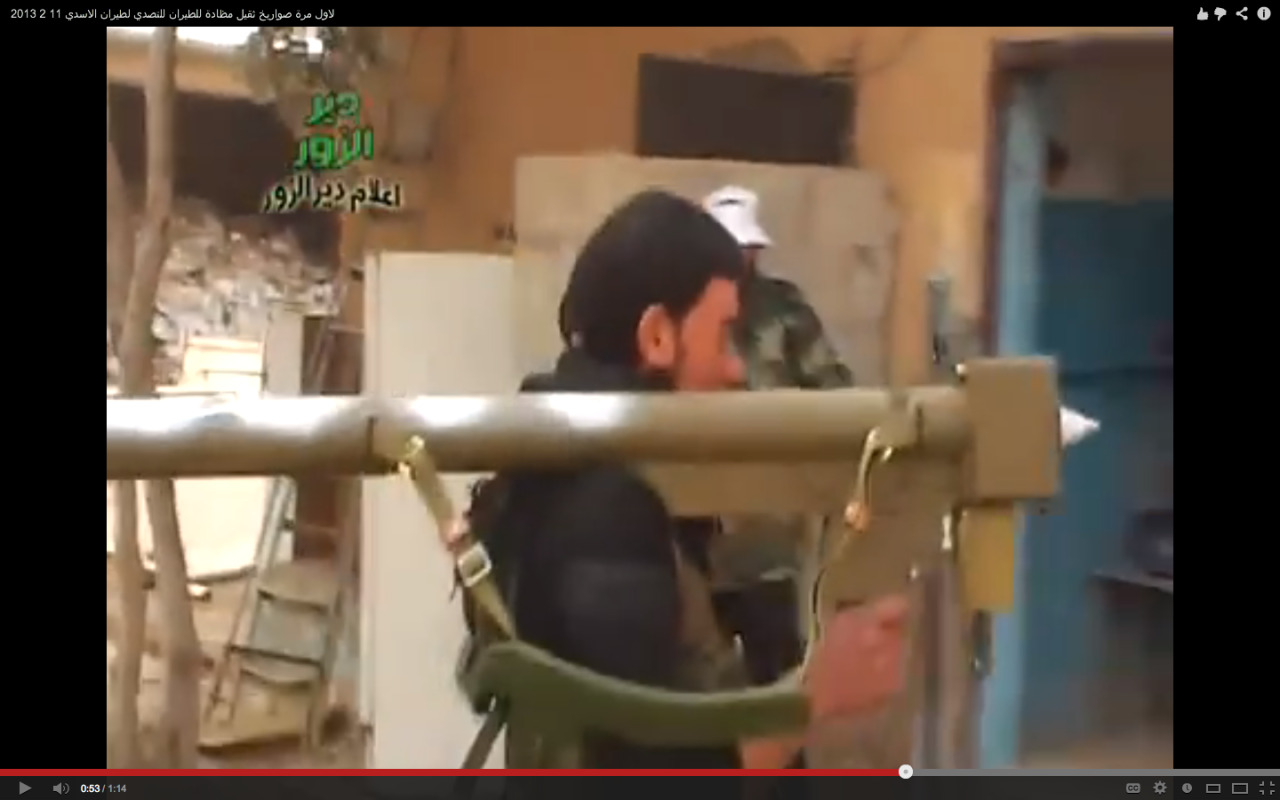 New MANPADS Sightings in Syria. Arms spotters today noticed the appearance of what looks like the Chinese FN-6 series of heat-seeking shoulder fired missile in Syria. The system, which appears complete, was in the hands of an anti-government fighter. Another sign that the MANPADSs threat to the Syrian Air Force escalates, and that the regional security worries grow. For links and hat-tips to those who keep an eye out for these things, go here for the Brown Moses fast-post.  For more background, try there or there.