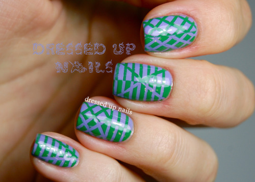 Reverse striping tape nails using Super Black Lacquers Grassy Knoll and Purdy. These took a while but I love them a lot! Check out the full post for more pictures and words.